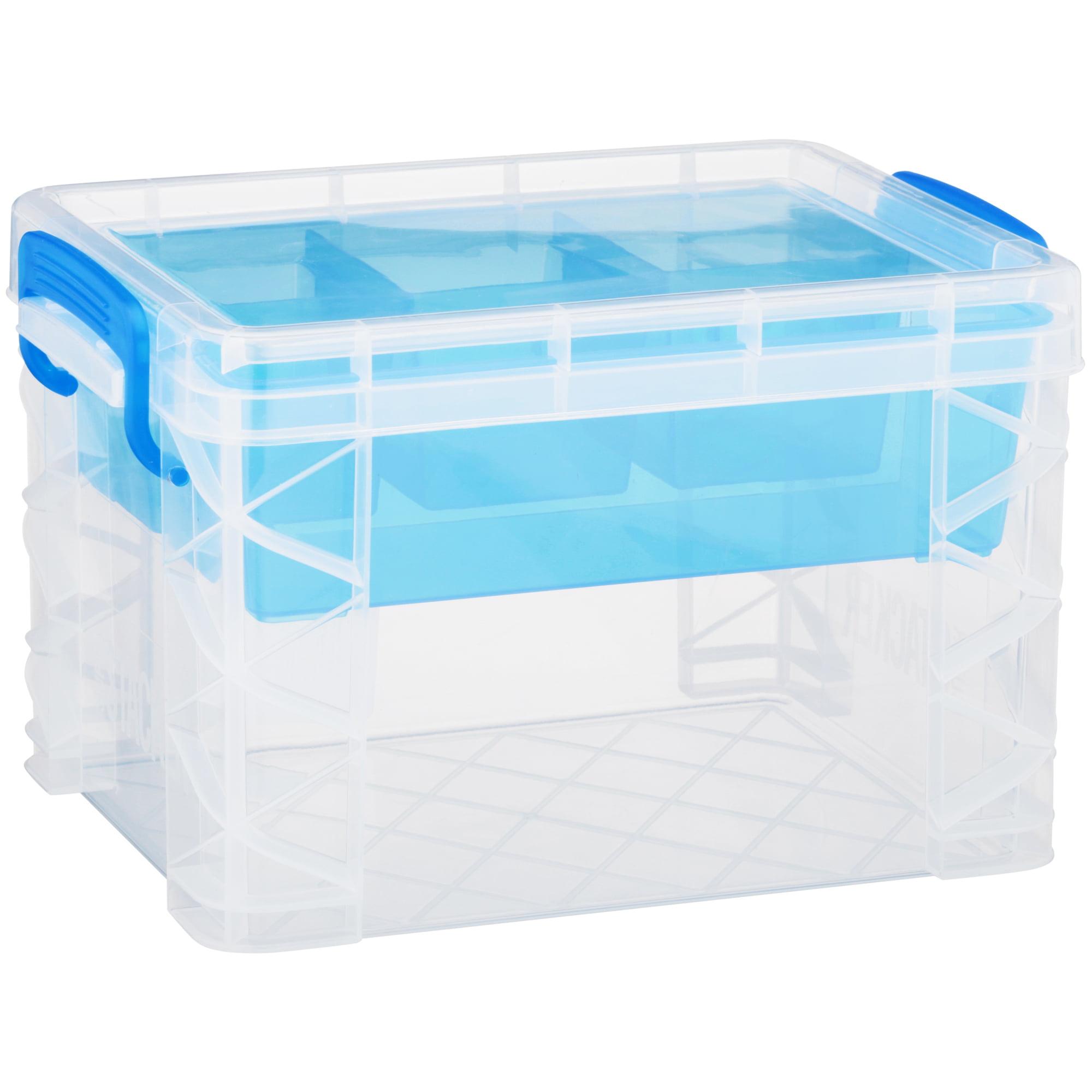 Advantus Super Stacker Divided Storage Box Clear w//Blue Tray//Handles 10.3 x 14