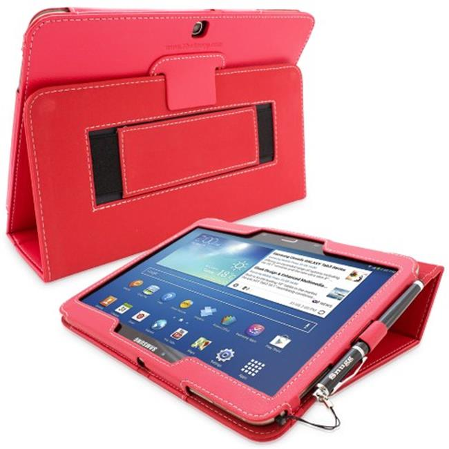 Snugg B00EQ71GAG Galaxy Tab 3 10. 1 Case Cover and Flip Stand, Red Leather