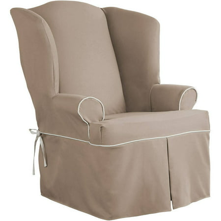 Serta Relaxed Fit Twill Furniture Slipcover Wingback Chair 1 Piece T Cushion