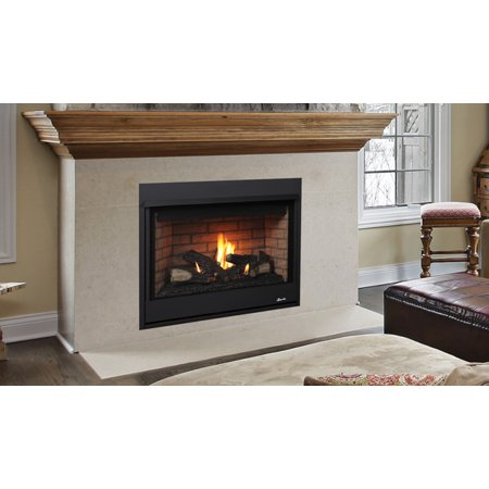 """Superior Fireplaces Direct Vent Fireplace Rear Vent 35"""", Aged Oak Logs, Natural Gas"""