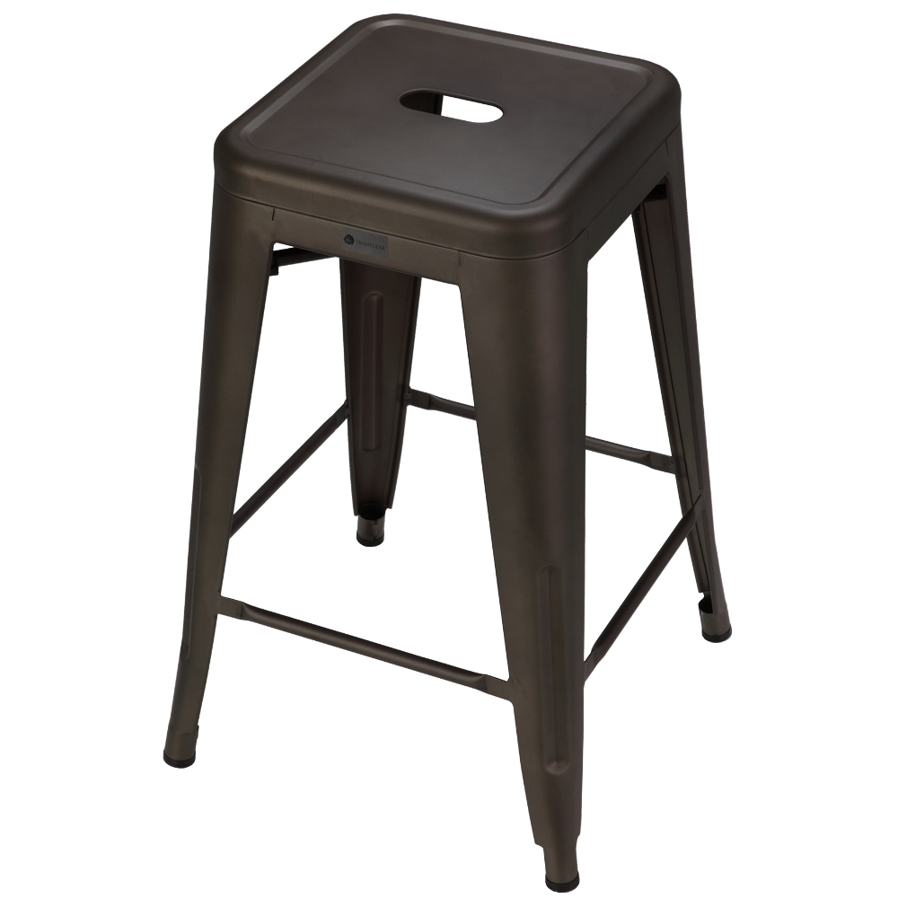Homegear 4 Pack Stackable Metal Kitchen Stools / Chairs Brushed Bronze