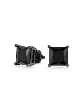Product Image Simulated Onyx Square Cz Back Stud Mens Earrings Faceted 925 Sterling Silver 8mm
