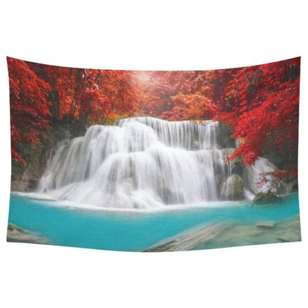 Rain Wall Hanging - PHFZK Beautiful Tree Wall Art Home Decor, Waterfall in Deep Rain Forest Tapestry Wall Hanging 40 X 60 Inches