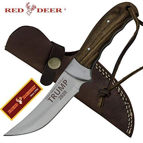 "Trump ""Keep America Great 2020"" 9"" Red Deer Hunting Knife"