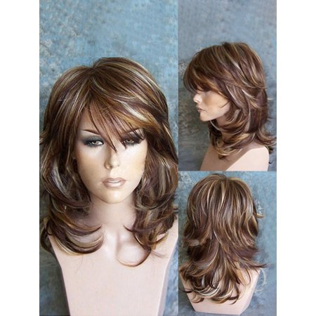 Medium Side Bang Highlighted Layered Slightly Curled Synthetic Wig (Medium Hair With Layers And Side Swept Bangs)