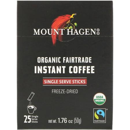 Mount Hagen Organic Fairtrade Instant Coffee, 25 Single Serve Sticks