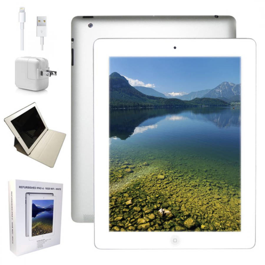 """Refurbished Apple iPad 4 with WiFi 9.7"""" Touchscreen Tablet Featuring iOS 7 Operating System, White"""