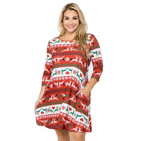 Women\'s Fair Isle Reindeer Print Christmas Dress (Plus Size)