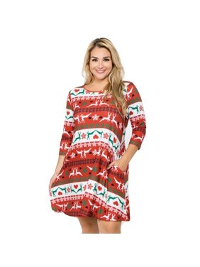 1e47ecb52c Product Image Women s Fair Isle Reindeer Print Christmas Dress (Plus Size)