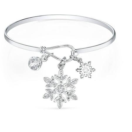 Disney 8mm Clear Crystal Silver-Tone Snowflake Frozen Bangle Bracelet, - 8mm Bangle Bracelet
