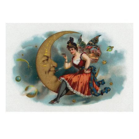 Picant Brand Cigar Box Label, Fairy Woman Smoking on the Moon Print Wall Art By Lantern