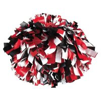 Pizzazz Black Red White 3 Color Plastic Cheer Single Pom Pom