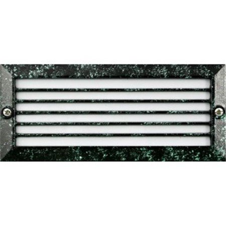 Dabmar Lighting LV601-VG Cast Aluminum Recessed Louvered Brick, Step & Wall Light, Verde Green - 4 x 9.13 x 3.25 in.