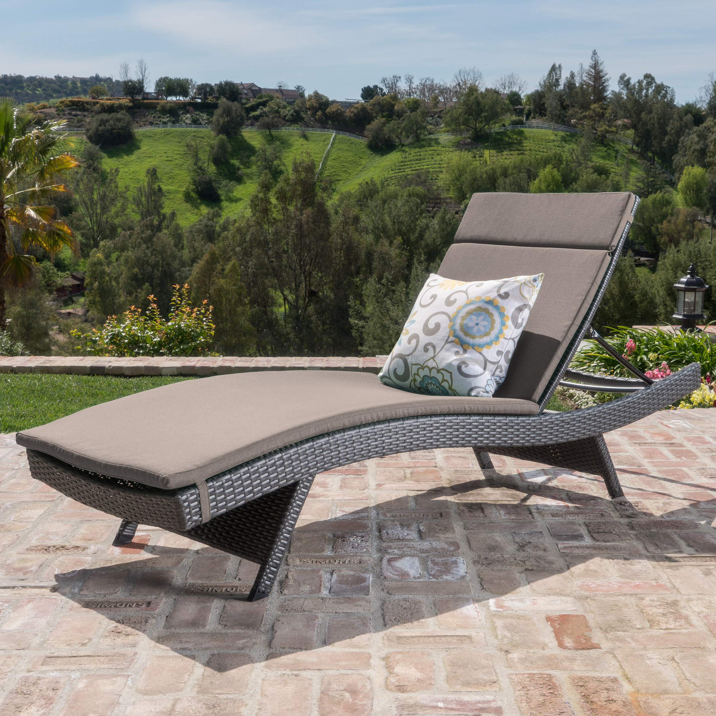 Anthony Outdoor Wicker Adjustable Chaise Lounge with Cushion, Grey, Charcoal