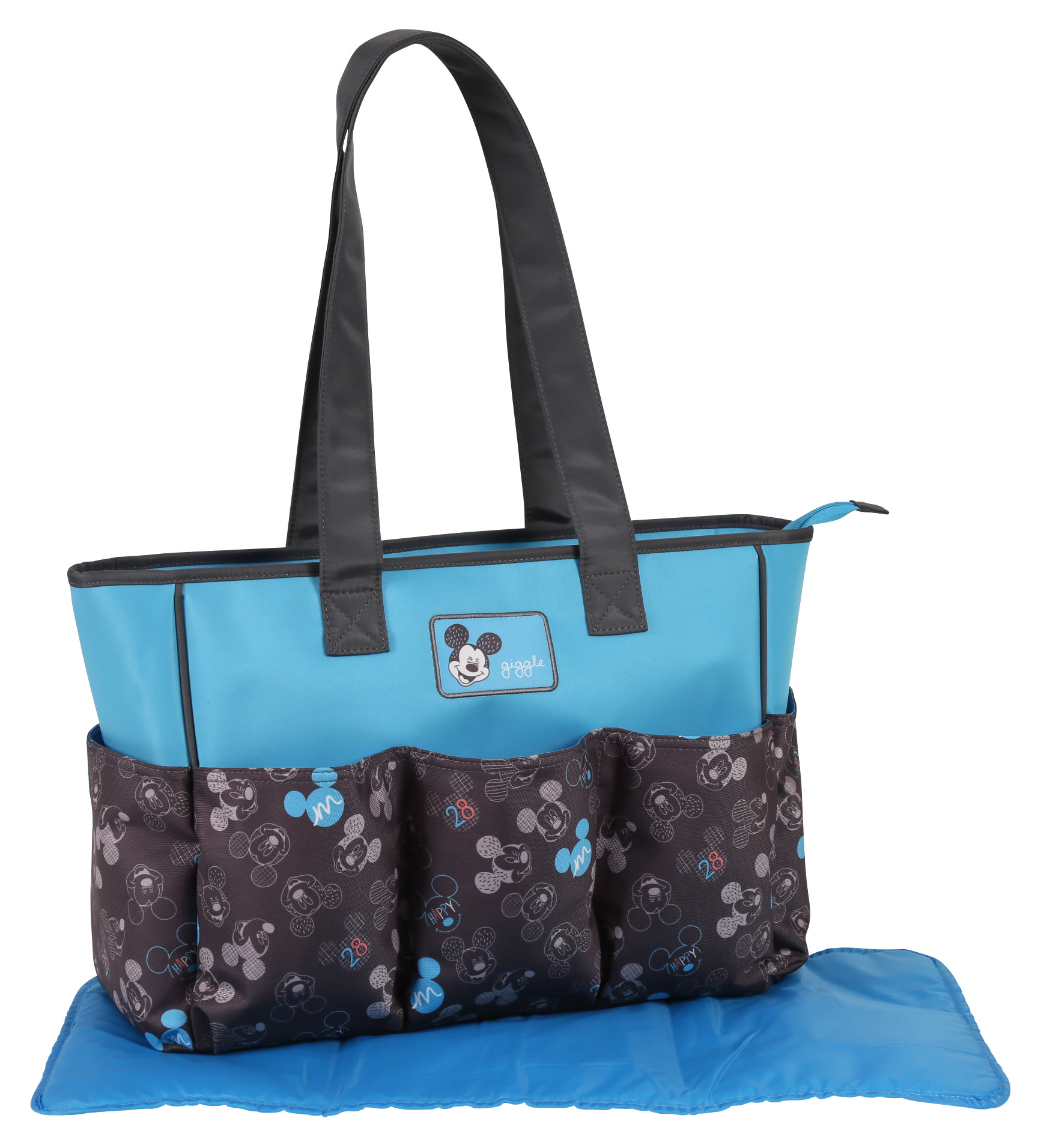 Disney Mickey Mouse Tote Diaper Bag, Blue/Grey