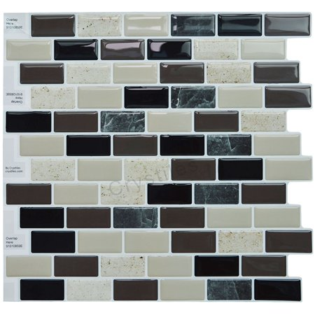 "Crystiles® Peel and Stick Self-Adhesive Stick-On Vinyl Wall Tile Backsplash, Multi-Color Marble, Item# 91010859, 10"" X 10"" Each, 6 Sheets"