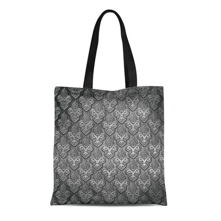 LADDKE Canvas Tote Bag Silver Fleur Steel Metal Gray Lis Pattern Abstract Ancient Reusable Shoulder Grocery Shopping Bags Handbag