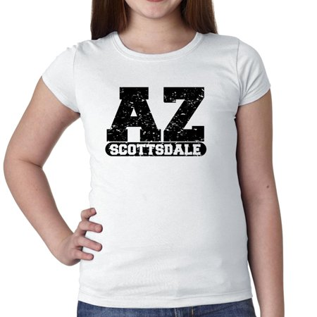 Scottsdale, Arizona AZ Classic City State Sign Girl's Cotton Youth T-Shirt - Party City Scottsdale Az