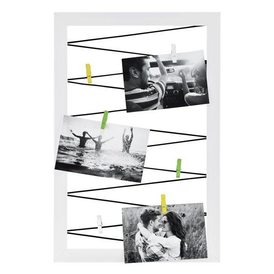 Mainstays 12x18 White Clothespin Photo Display Board
