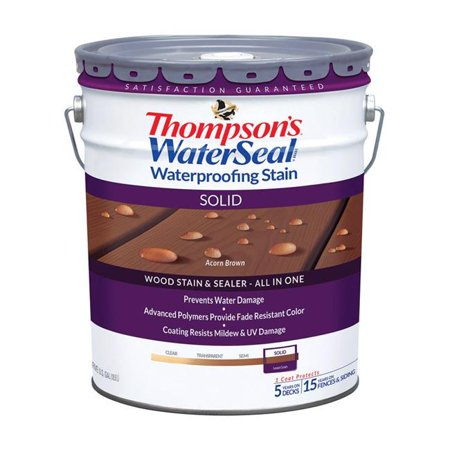 Thompsons Waterseal 1894823 Solid Acorn Brown Waterproofing Wood Stain & Sealer, 5 -