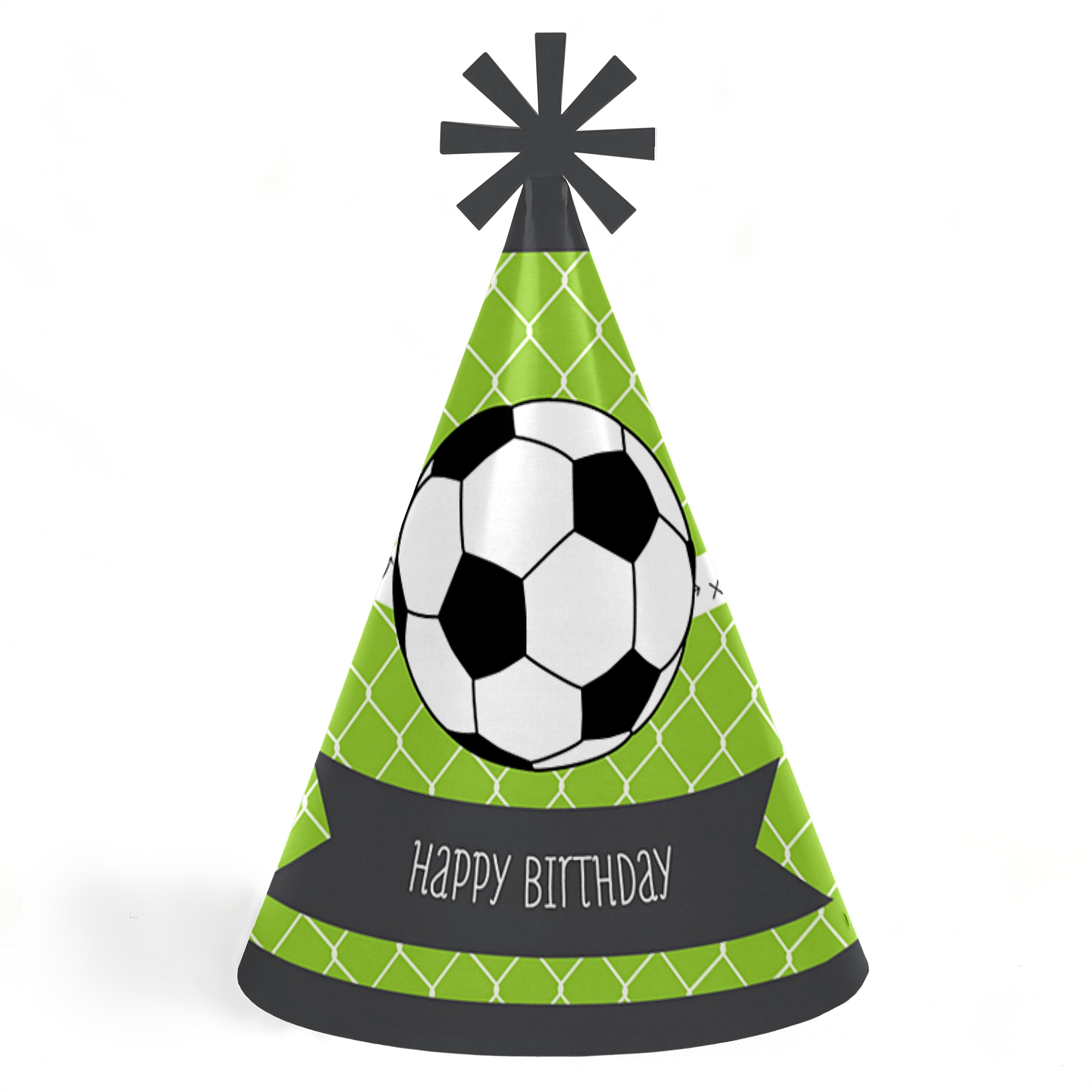GOAAAL! - Soccer - Cone Happy Birthday Party Hats for Kids and Adults - Set of 8 (Standard Size)