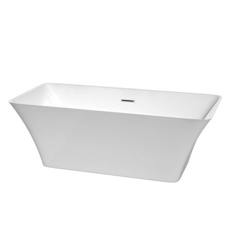 Wyndham Collection Tiffany 67 inch Freestanding Bathtub in White with Polished Chrome Drain and Overflow Trim