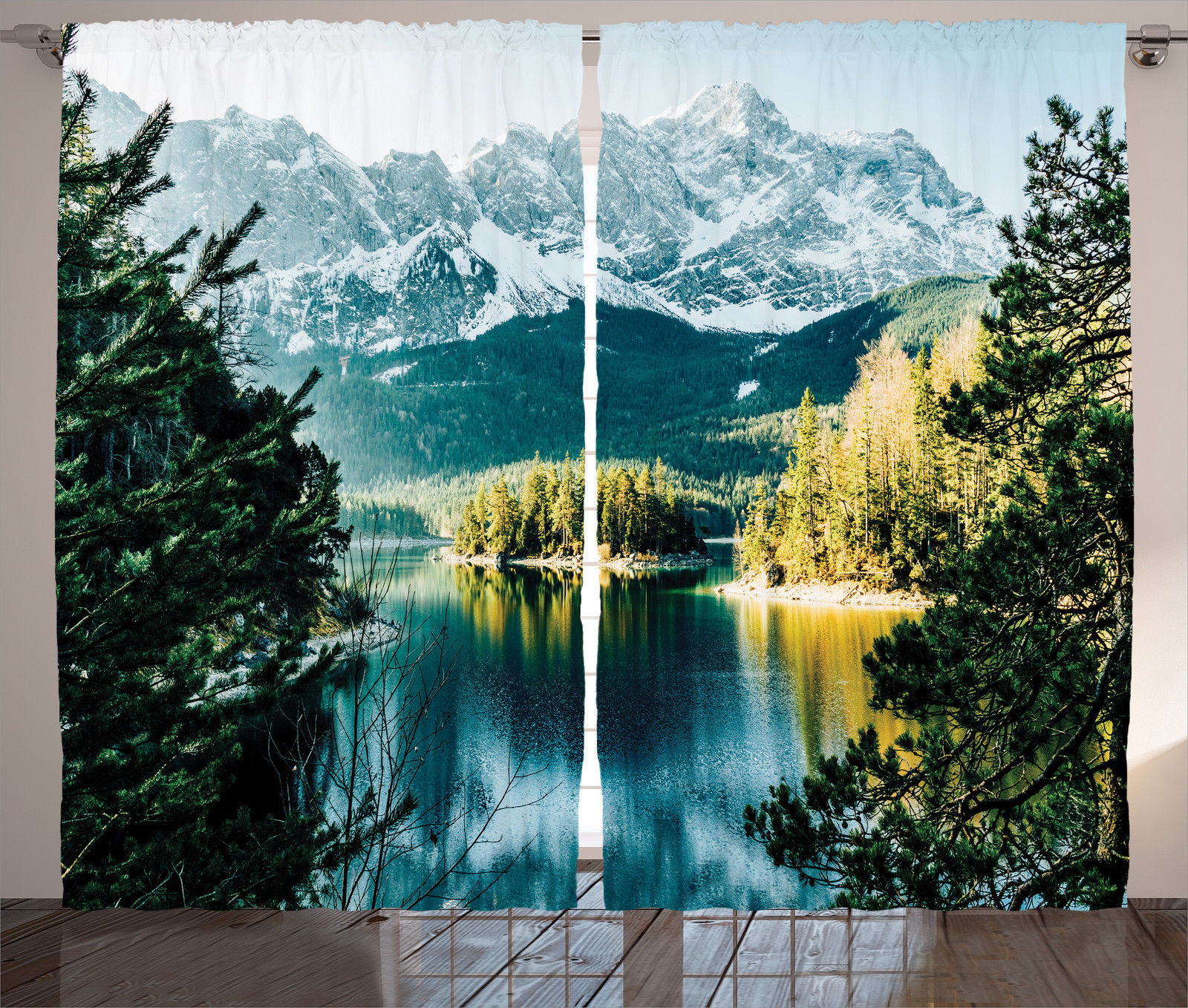 Click here to buy Lake House Decor Curtains 2 Panels Set, Mountain Lake In Northern Germany With Frozen Peaks And Water In Winter Season Life, Living Room... by Kozmos.