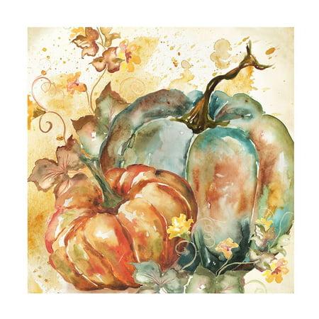Watercolor Harvest Teal And Orange Pumpkins Ii Poster Print by Tre Sorelle (Orange Harvest)