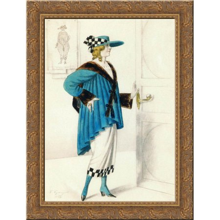 Designs of female costume 24x18 Gold Ornate Wood Framed Canvas Art by Boris Kustodiev for $<!---->