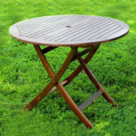 Highland Acacia 38-inch Round Folding Table with Curved - Round Butterfly Leg Table