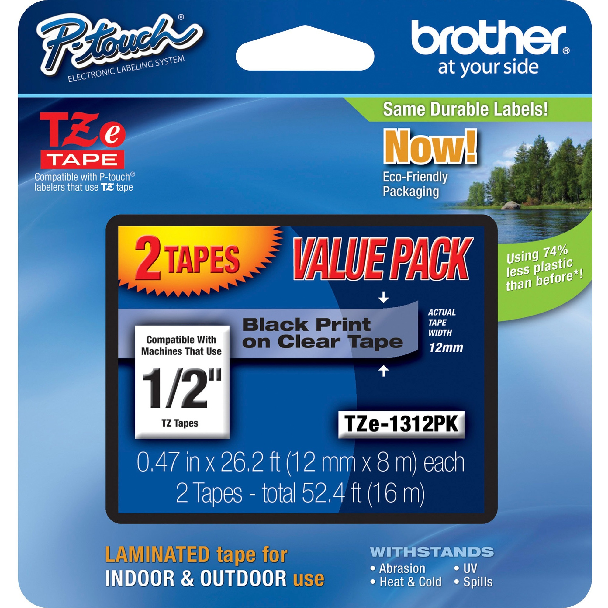 """Brother P-Touch TZe Standard Adhesive Laminated Labeling Tapes, 1/2""""w, Black on Clear, 2/Pack"""