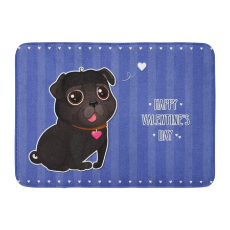 GODPOK Valentine's Day with Cute Black Pug in Cut Out Style Cartoon Dog with Heart on Striped Text Happy Rug Doormat Bath Mat 23.6x15.7 inch for $<!---->