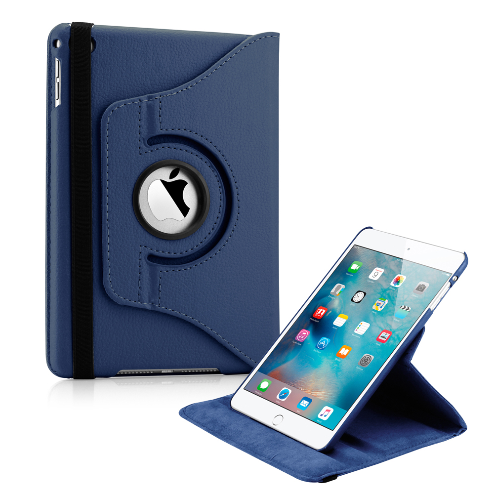 360 Degree Rotating PU Leather Cover Smart Case Swivel Stand for Apple iPad Mini 4 - Dark Blue