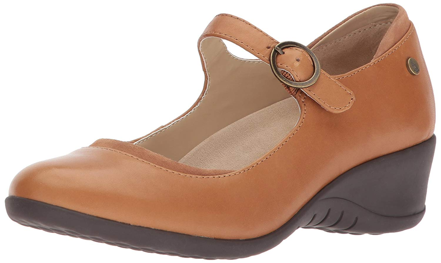 Hush Puppies Womens ODELL Mary Jane Leather Closed Toe Casual, Tan, Size 7.5