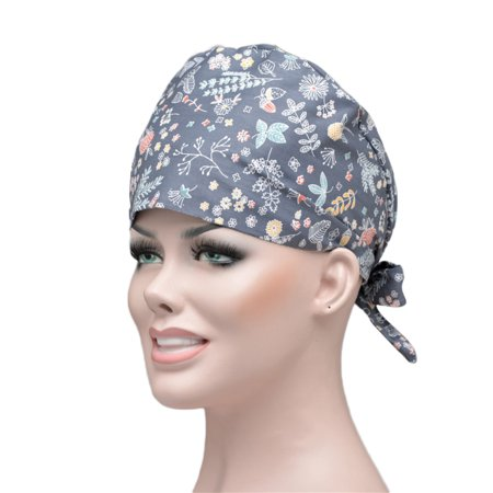 Cheers 2Pcs Floral Dots Print Scrub Cap Sweat Absorbant Round Bouffant Adjustable Hat - image 6 of 6