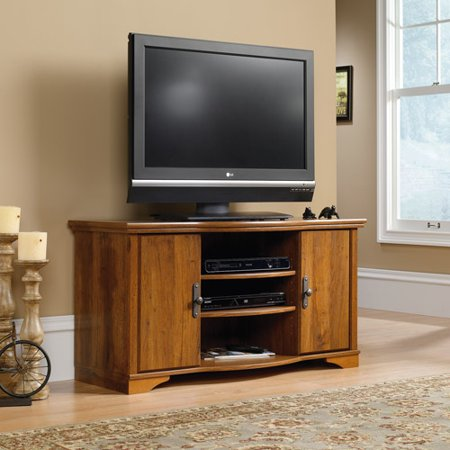 Sauder Harvest Mill Entertainment Credenza for TVs up to 47″, Abbey Oak Finish