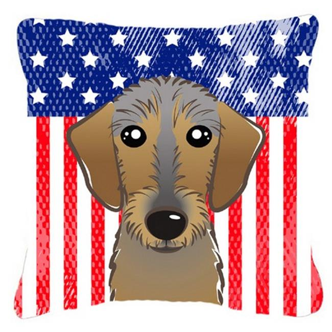 Carolines Treasures BB2163PW1818 American Flag & Wirehaired Dachshund Fabric Decorative Pillow, 18 x 3 x 18 in. - image 1 of 1