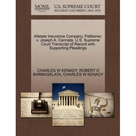 Allstate Insurance Company  Petitioner  V  Joseph A  Cannata  U S  Supreme Court Transcript Of Record With Supporting Pleadings