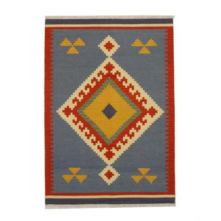Handmade Wool Blue Transitional Geometric Keysari Kilim Rug