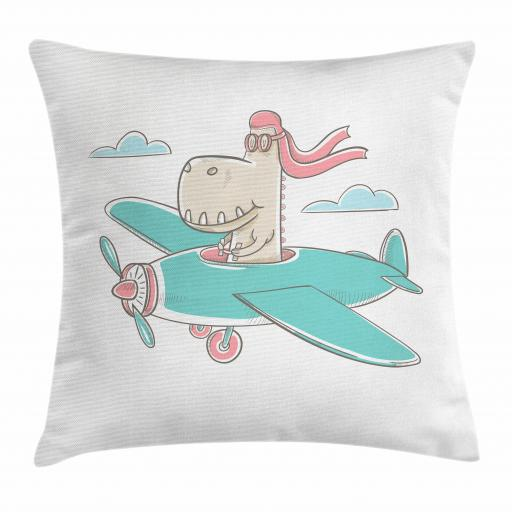 Kids Girls Throw Pillow Cushion Cover, Dinosaur Flying A Plane in Sky Cool Hipster Funny Boys Graphic, Decorative Square Accent Pillow Case, 16 X 16 Inches, Turquoise Eggshell Coral, by Ambesonne
