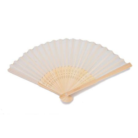 1 PCS Beige Bamboo Folding Fan Handheld Fans Paper Folded Fan for Wedding Party and Home Decoration - image 1 de 6