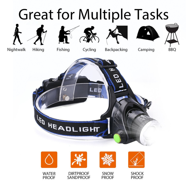 LED Waterproof Headlamp Flashlight, Rechargeable Zoomable Headlamps Adjustable Cree T6 Headlight for Camping Hiking... by