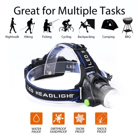 LED Waterproof Headlamp Flashlight, Rechargeable Zoomable Headlamps Adjustable Cree T6 Headlight for Camping Hiking Hunting Running Working Outdoor Sports