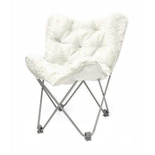 Luxe Faux Fur Butterfly Chair White Walmart Com