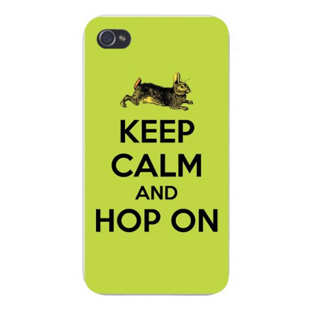 Apple Iphone Custom Case 4 4s White Plastic Snap on - Keep Calm and Hop On Classic Bunny Rabbit Illustration ()