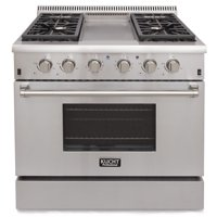 KUCHT Professional 36 in. 5.2 cu. ft. LP Gas Range with Sealed Burners, Griddle and Convection Oven in Stainless Steel