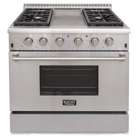 KUCHT Professional 36 in. 5.2 cu. ft. LP Gas Range with Sealed Burners, Griddle and Convection Oven in Stainless