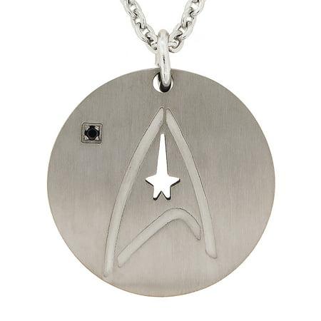 Unisex Black Crystal Titanium Federation symbol Pendant
