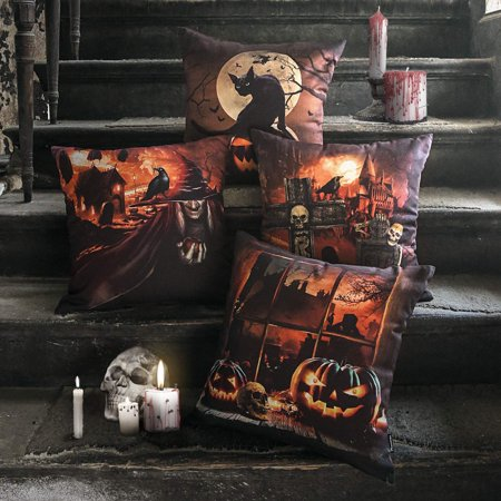 Set of 4 Halloween PHANTOSCOPE Decorative Horror Nights Halloween Pillow Cover Throw Pillow Case Cushion Cover 18