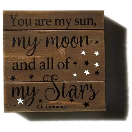 Sun Wall Plaque Decor - E. E. Cummings 'You are My Sun, My Moon, and All of My Stars' Plaque Wall Art